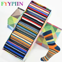 5 Pairs Casual Mens Socks Chromatic Stripe