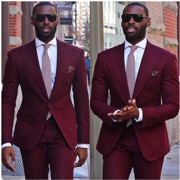 Fashion new men's suits wine red lapel single-breasted