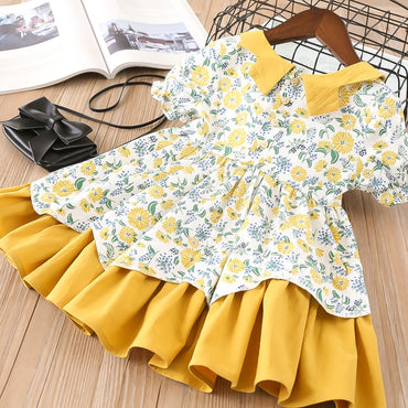 Turn-down collar pattern short sleeve cotton girl dress