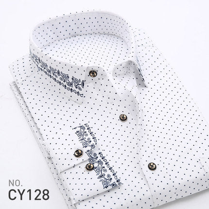 Polka Dot Floral Men Dress Shirt