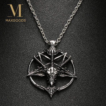 Fashion Pentagram Pan God Skull Goat Head Pendant Necklace