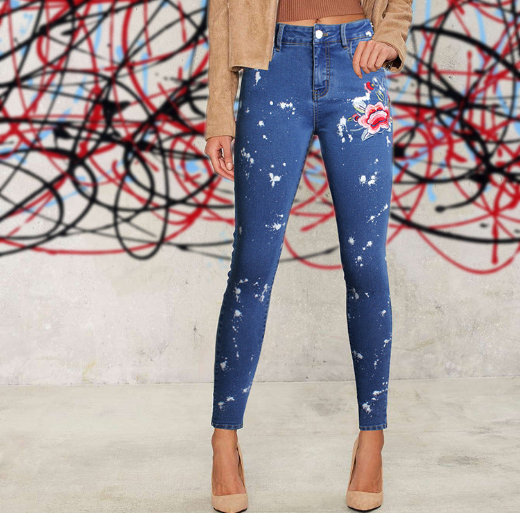 Blue Floral Embroidered Jeans