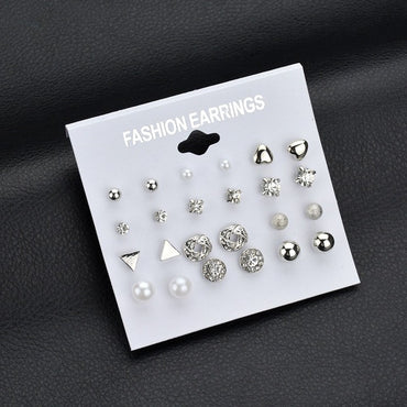 12 pair/set Square Crystal Heart Stud Earrings - GaGodeal