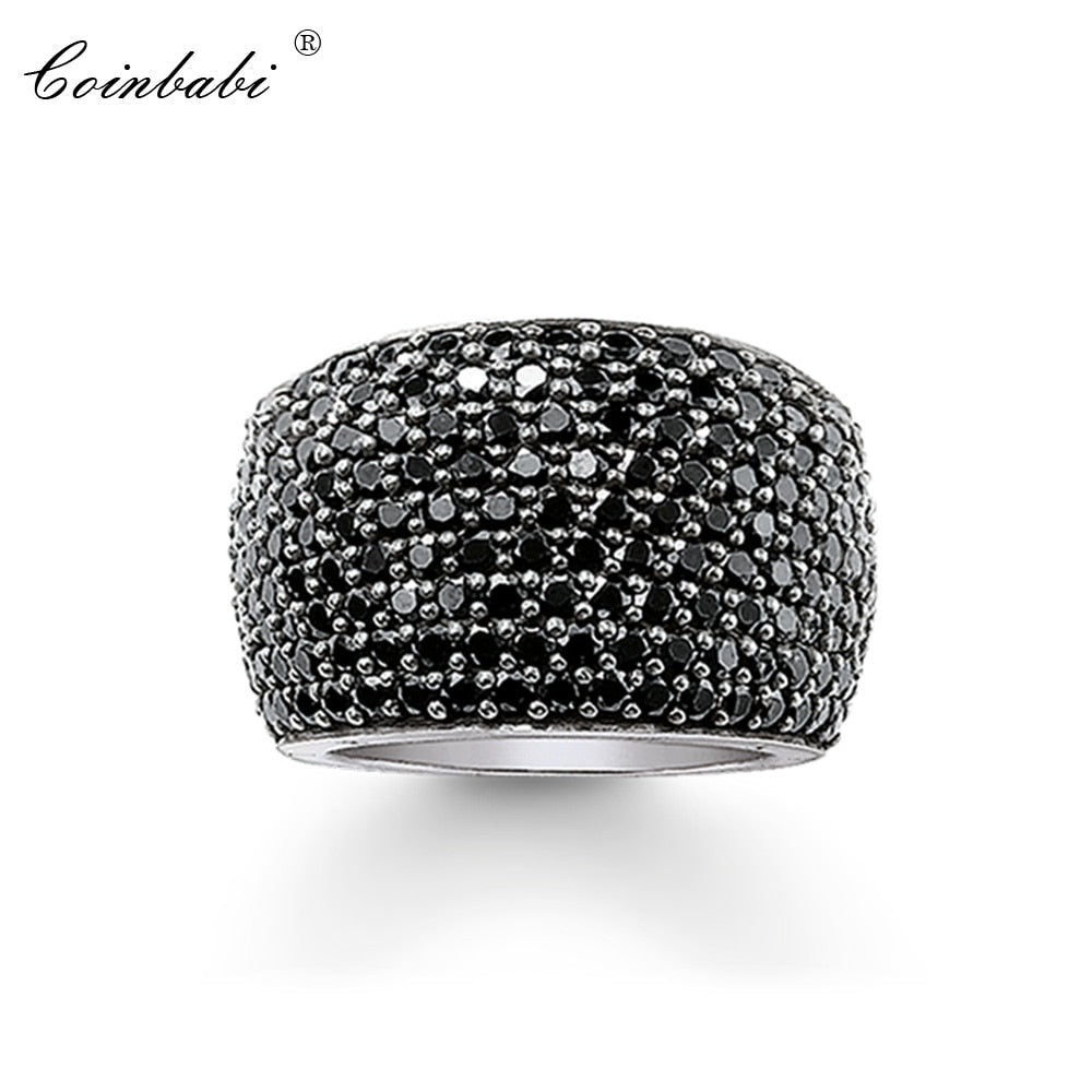 Cocktail Rings Black CZ Pave Wide 925 Sterling Silver Gift For Women & Men