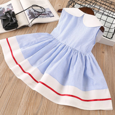 Embroidery cherry Turn-down Collar Sleeveless striped cotton Girls dress