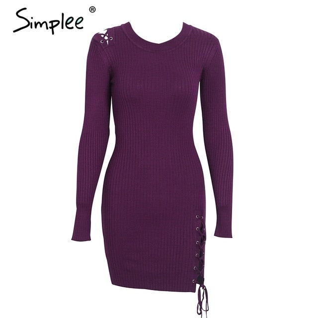 Simplee Lace up skinny knitted sweater dress