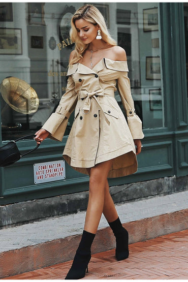 Sexy off shoulder trench dress