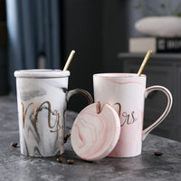 Luxury Marble Pattern Ceramic Mugs Gold Plating MRS MR Couple Cup