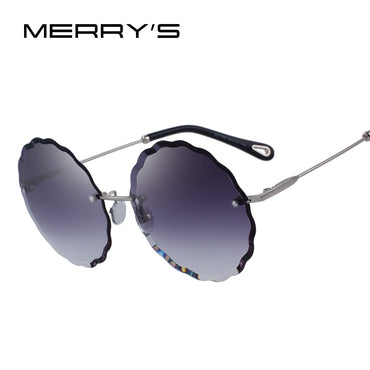 Women Rimless Round Sunglasses Gradient Lens UV400 Protection