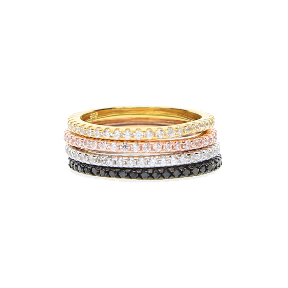 100% pure 925 sterling silver micro pave cz thin engagement band 4 colors eternity ring silver