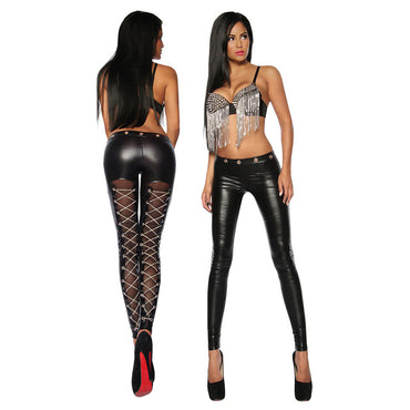 Women Skinny Pants Transparent Silk Faux Leather Chains Lace-Up Cross Steampunk Sexy Leggings