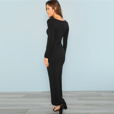 Square Neck Fitted Bodycon Long Sleeve Stretchy Plain Maxi Dress
