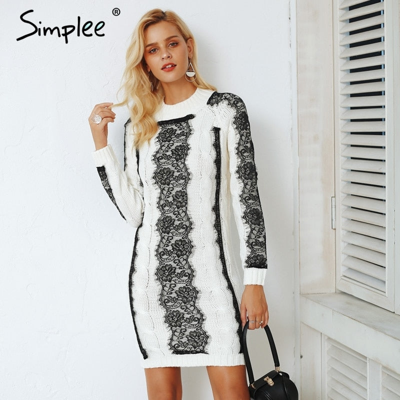 Vintage O neck twist knitted sweater dress