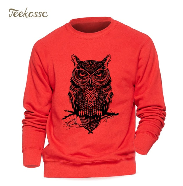 Animal Owl Casual Crewneck Men Hoodies