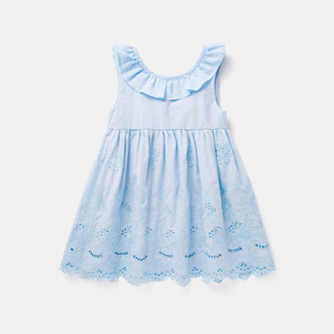 Baby Girl ruffles drawstring bow embroidery sleeveless dress