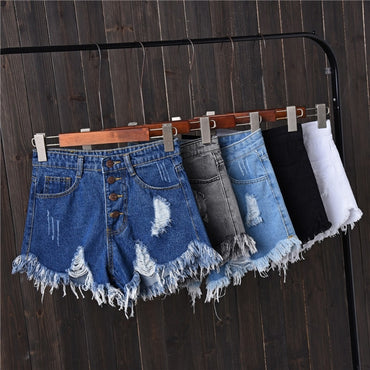 Womens Sexy High Waist Tassel Ripped Jeans Denim Shorts