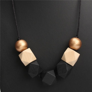 Wood Geometric Necklace Painted Chunky Faceted Wooden Beads