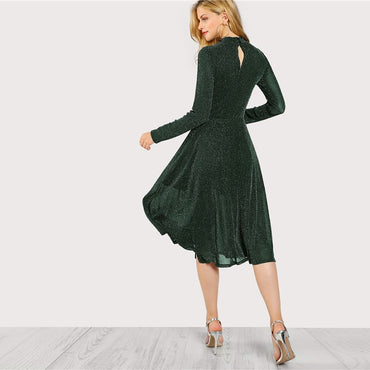 Green Elegant Party Mock Neck Glitter Button Fit And Flare Solid Natural Waist Dress