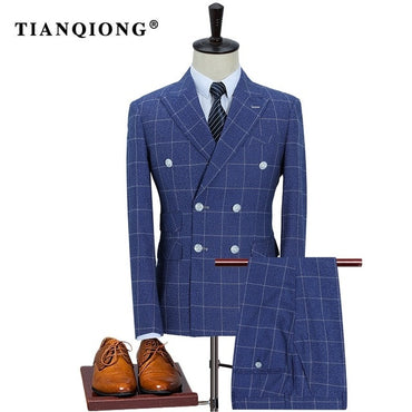 New Arrival High Quality Fashion Double Breasted Suits Men
