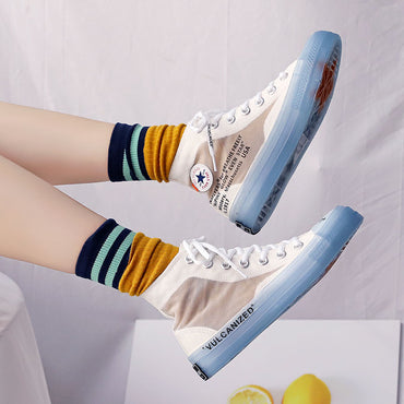Women Shoes Trending Style High Tops Transparent Sole Cool Fashion Sneakers