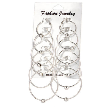 6 Pairs/Set Circle Hoop Earrings