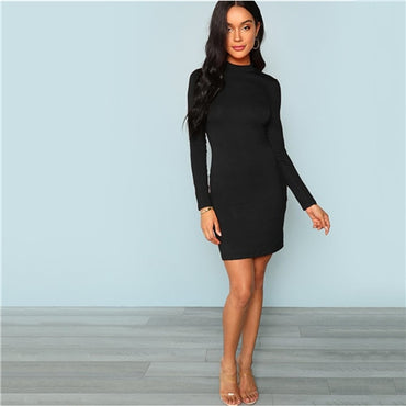 Black Elegant Office Lady Mock Neck Form Fitting Long Sleeve Solid Skinny Dress