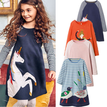 Cute Cartoon Animals Princess Long Sleeve Girl Dress