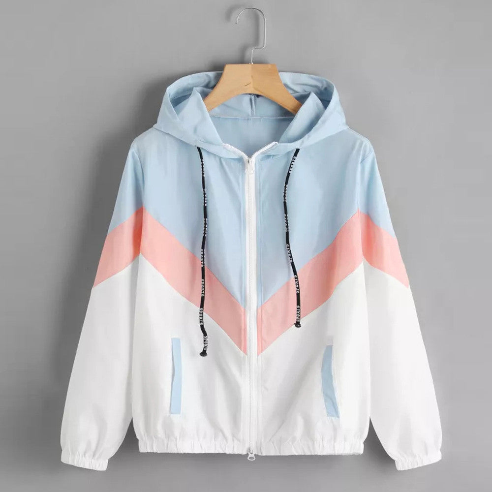 Women Windbreaker Jacket Multicolor Patchwork Hooded Basic Jackets