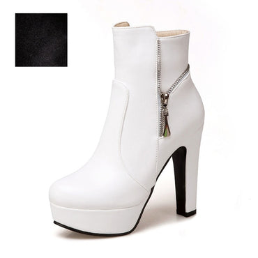Thick High Heels Ankle Women Boots Round Toe Footwear Pu Lady