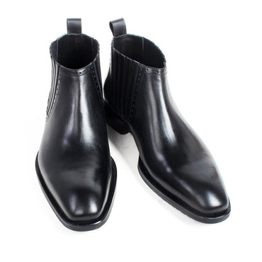 Calf Leather Men's Ankle Boots Square Toe Tassel Wedding Office Footwear Boots
