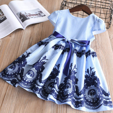 Cotton striped embroidery fly sleeve crew neck girl dress