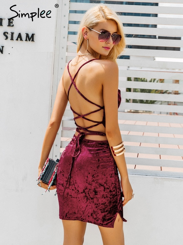 Sexy strap backless velvet mini dress