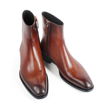 Ankle Boots Brown Patina Handmade Bespoke Shoes