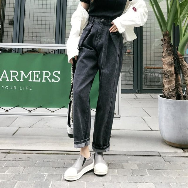Loose Vintage Woman Jeans  Autumn Bleached Casual Boyfriend Curl Denim Wide Leg Pants Oversize
