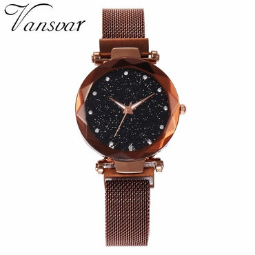 Best Selling Mesh Magnet Buckle Starry Sky Geometric Surface Quartz Watches