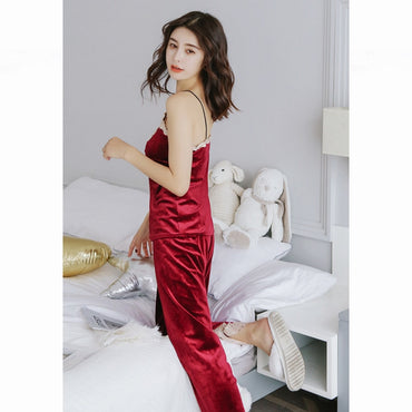 Autumn Winter Warm Pajamas Set Women Sexy