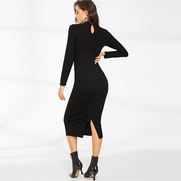 Black Elegant Solid Crisscross Choker Neck Ribbed Pencil Long Sleeve Dress