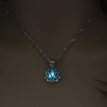 Luminous Glowing In The Dark Moon Lotus Flower Shaped Pendant Necklace For Women