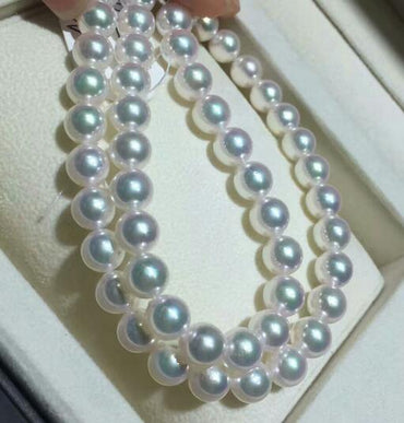 Natural seawater pearl necklace white round