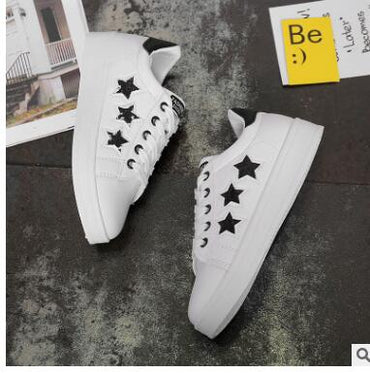 New White Star Women Flat Leather Canvas Shoes