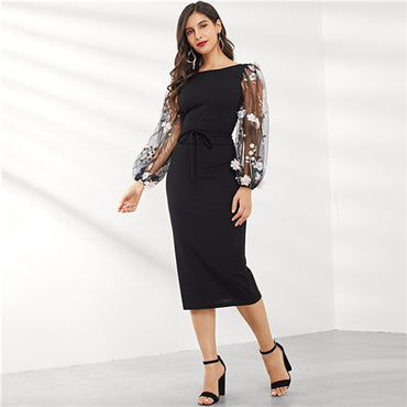 Black Applique Embroidered Mesh Sleeve Pencil Dress