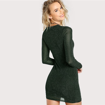 Army Green Office Lady Elegant Glitter Form Fitting Long Sleeve Party Pencil Dress