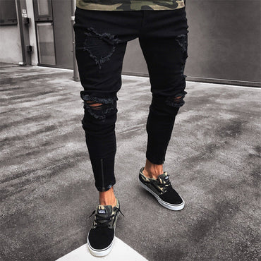 Mens Cool Designer Brand Black Jeans Skinny Ripped Destroyed Stretch Slim Fit