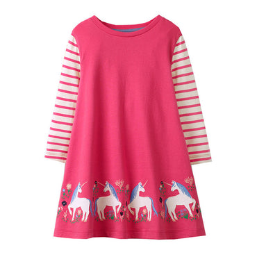 Girls Long Sleeves space Cartoon Cotton Dress