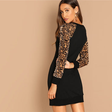 Black Elegant Workwear Leopard Print Color Block Raglan Sleeve Sequin Dress