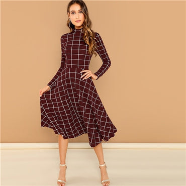 Burgundy Elegant Office Lady Plaid Print High Neck Fit And Flare Long Sleeve