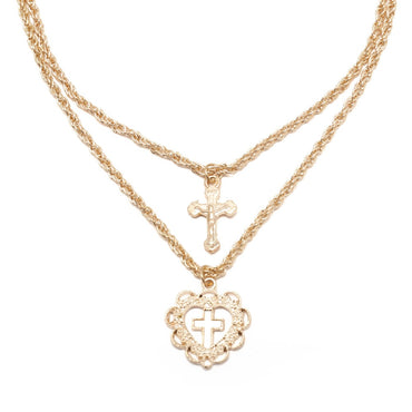 Women Sweet Cross Jesus Pendant Choker Necklace Charm Love Heart