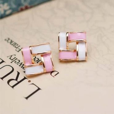 Jewelry Metallic Paint Square Candy Colors Interweave Stud Earrings For Women