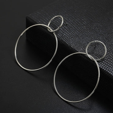 Simple fashion geometric big round earrings