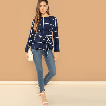 Navy Self Belted Grid Round Neck Long Sleeve Plaid Pullover Plain Blouse
